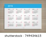 calendar 2019 year in simple... | Shutterstock .eps vector #749434615