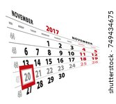 20 november highlighted on... | Shutterstock .eps vector #749434675