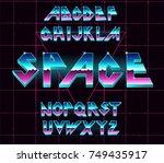 alphabet 80's retro font.vector ... | Shutterstock .eps vector #749435917