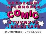 alphabet comic retro pink.... | Shutterstock .eps vector #749437339
