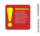 red warning notice label with... | Shutterstock .eps vector #749440399
