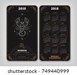 scorpio 2018 year zodiac... | Shutterstock .eps vector #749440999