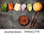 homemade hamburger with...   Shutterstock . vector #749441779