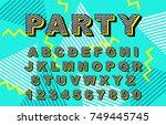 alphabet 90's retro font.vector ... | Shutterstock .eps vector #749445745