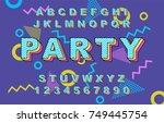 80's retro alphabet font.... | Shutterstock .eps vector #749445754