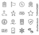 thin line icon set   clipboard  ... | Shutterstock .eps vector #749445889