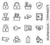 thin line icon set   lock ... | Shutterstock .eps vector #749446075