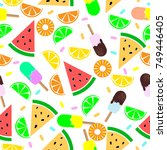 seamless food pattern. oranges... | Shutterstock .eps vector #749446405
