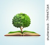 open book with green grass... | Shutterstock . vector #749447164