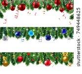 xmas border with gradient mesh  ... | Shutterstock .eps vector #749448625