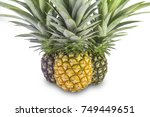 ripe pineapple isolated on... | Shutterstock . vector #749449651