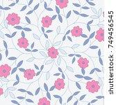 cute pattern in small flower.... | Shutterstock .eps vector #749456545
