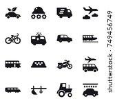 16 vector icon set   eco car ... | Shutterstock .eps vector #749456749