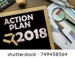 text action plan 2018 on the... | Shutterstock . vector #749458564