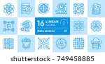 linear icon set of data science ... | Shutterstock . vector #749458885