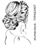 hand drawn beauty woman with... | Shutterstock .eps vector #749462407