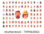 cool flat vector avatars. part... | Shutterstock .eps vector #749463061