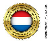 made in netherlands golden... | Shutterstock .eps vector #749465335