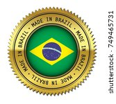 made in brazil golden badge... | Shutterstock .eps vector #749465731
