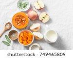 ingredients for pumpkin apple... | Shutterstock . vector #749465809