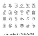 line icons about gifts.... | Shutterstock .eps vector #749466334