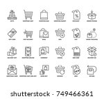 line icons about gifts and... | Shutterstock .eps vector #749466361
