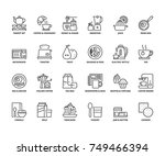 line icons about breakfast.... | Shutterstock .eps vector #749466394