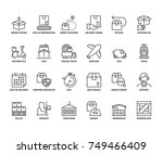 line icons about shipping.... | Shutterstock .eps vector #749466409