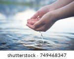 nature water concept  woman... | Shutterstock . vector #749468347