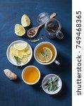 green tea with lemon  ginger ...   Shutterstock . vector #749468365