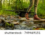 Female Hiker In Leather Boots...