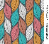 stylized colorful leaves... | Shutterstock .eps vector #749470117