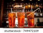 cocktails in glass jars  stand... | Shutterstock . vector #749472109