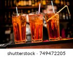 cocktails in glass jars  stand... | Shutterstock . vector #749472205