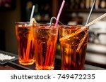 cocktails in glass jars  stand... | Shutterstock . vector #749472235