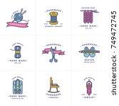 handmade colorful line logos... | Shutterstock .eps vector #749472745