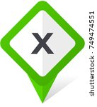 cancel green square pointer web ... | Shutterstock .eps vector #749474551