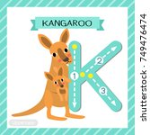 letter k uppercase cute... | Shutterstock .eps vector #749476474