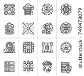 linear icon set of data science ... | Shutterstock . vector #749478079