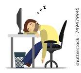 sleeping at work. man sleeps at ... | Shutterstock .eps vector #749479945