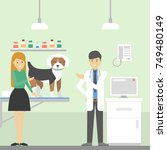 vet clinic ward with doctor ... | Shutterstock .eps vector #749480149