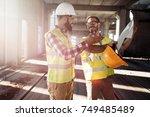 portrait of construction... | Shutterstock . vector #749485489