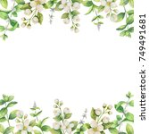 watercolor frame of flowers... | Shutterstock . vector #749491681
