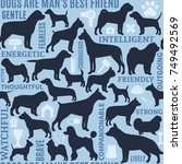 vector dogs seamless pattern or ... | Shutterstock .eps vector #749492569