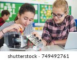 female pupils in science lesson ...   Shutterstock . vector #749492761