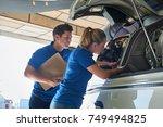 aero engineer and apprentice... | Shutterstock . vector #749494825