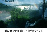iguazu falls on argentina and... | Shutterstock . vector #749498404