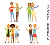 illustrations of friendship.... | Shutterstock .eps vector #749500711