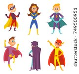 funny childrens. superheroes... | Shutterstock .eps vector #749500951