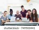 portrait of teenage students... | Shutterstock . vector #749503441